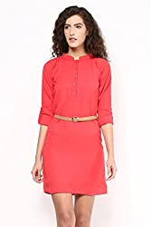 Coral Tab Sleeve Dress With Belt