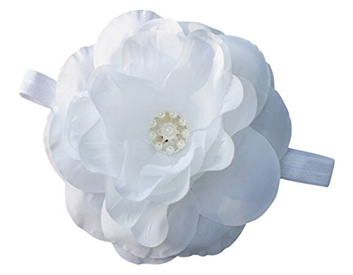 PinkXenia big flower diamond pearl white babygirl newborn Soft headband