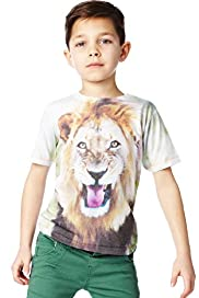 Crew Neck Sublimation Lion Print T-Shirt