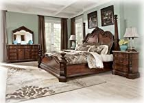 Hot Sale Ashley Ledelle King Poster Bed Old World in Brown Finish