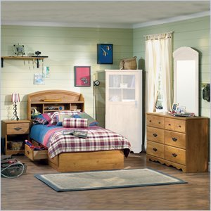 Cheap South Shore Prairie Kids Twin Wood Bookcase Bed 4 Piece Bedroom Set in Country Pine (3232080-4PKG)