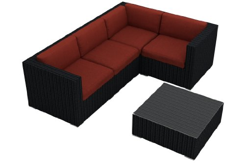Harmonia Living Urbana 5 Piece Rattan Outdoor Sofa Sectional Set with Red Sunbrella Cushions (SKU HL-URBN-5SECT-HN) picture