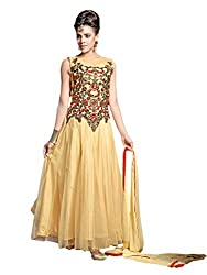 Suchi Fashion Embroidered Yellow Net Semi Stitched Floor Length Party Wear Gown