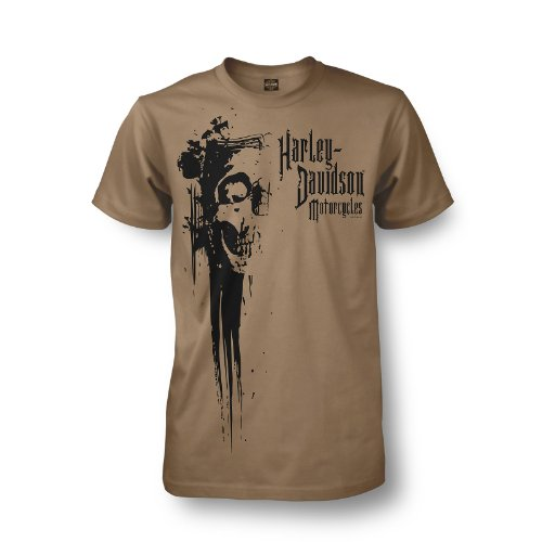 Harley-Davidson Ramstein Germany Skull Gash T-Shirt Mens - L/Khaki