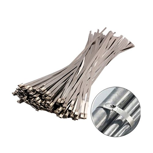 Amgate 100pcs 11.8 Inches Stainless Steel Cable Zip Ties Exhaust Wrap Coated Locking (Steel Clamp compare prices)