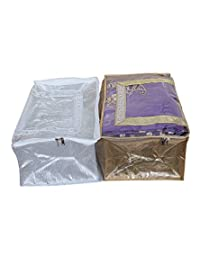 Kuber Industries Saree Cover Set Of 2 Pcs In Golden & Silver Brocade With Capacity Of 10-15 Sarees, Wedding Collection...