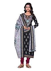 Woman's Black Color Cotton Printed Dress Materials(BG210)