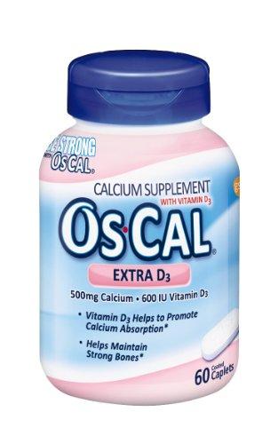 Os-Cal Extra D3, Calcium (500Mg), Vitamin D3 ( 600 Iu), 60 Coated Caplets