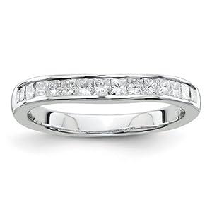 IceCarats Designer Jewelry Size 6 14K White Gold Aa Diamond Band Ring