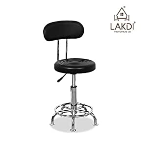 Medical mobile doctor 39 s stools office student computer pu leather metal bar stool chair black Home bar furniture amazon