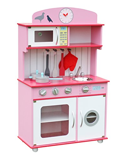 Deluxe Wooden Kitchen Toy Pretend Kids children role play set with Accessories by Oye Hoye - Pink,Fuschia (Vintage Kid Kitchen compare prices)