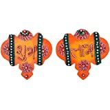 999Store Handmade Multicolour Wooden Flower Orange Shubh Labh Diwali Door Hanging