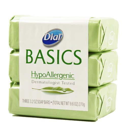 Dial Basics Hypoallergenic Bar Soap 3.2 Oz - 3 Pack Basic Natural Bath