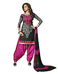 Lookslady Embroidered Black Chanderi Salwar Suit