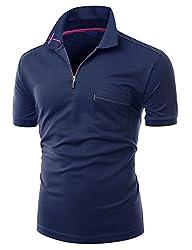Xpril Men's Cool Max Fabric Color Collar T-Shirt