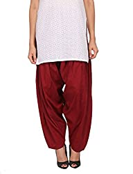 Womens Cottage Maroon Pure Cotton Semi Patiala Bottoms
