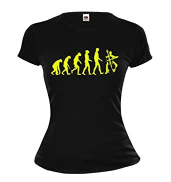 Girlie T-Shirt The Evolution of cello-XS-Black-Neonyellow