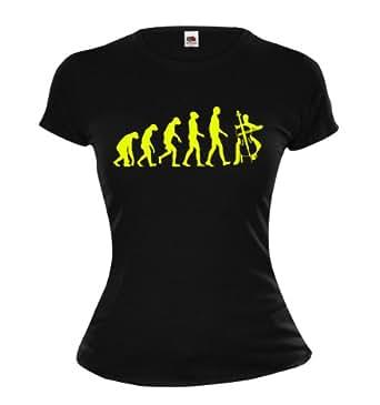 Girlie T-Shirt The Evolution of cello-XS-Black-Neonyellow