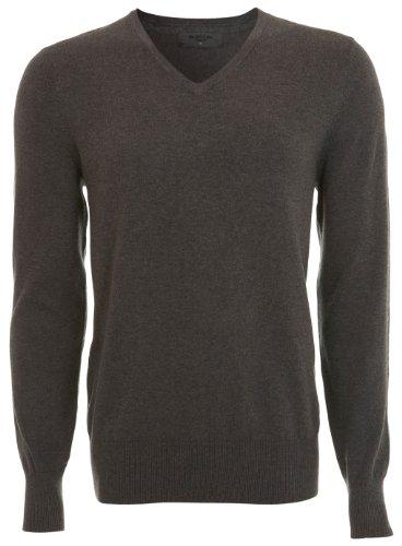 Mens V Neck Jumper Plain Top Sweater Wool - Grey - S