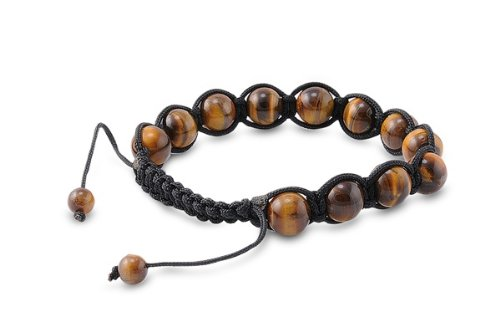 Tibetan Knotted Bracelet - Tiger Eye w/ Black String - Bead Size: 10mm, Adjustable Length