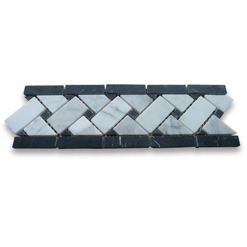 Carrara White Italian Carrera Marble Basketweave Mosaic Border Black Dots 4 x 12 Polished