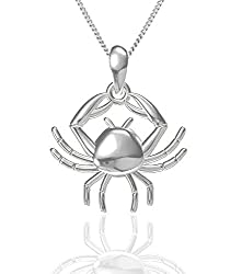 Exxotic Fashion Sterling Silver Cancer Zodiac Pendant Idol Gift for Her and Him