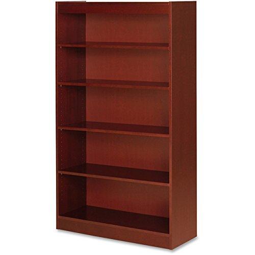Lorell Panel End Cherry Hardwood Veneer Bookcases-5 Shelf Panel Bookcase, 36