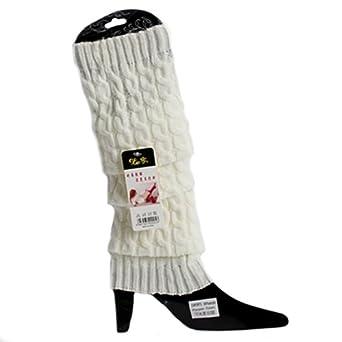 Mode Féminine Hiver Tricot Crochet Guêtres Legging 5 Couleurs (Blanc)