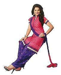 SGC Pink & Blue Cotton Embroidery unstitched churidar Patiyala (NKT-5109)