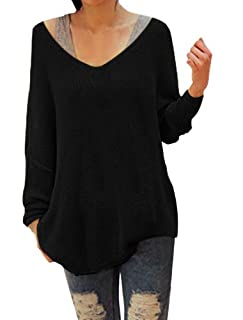 Allegra K Ladies Scoop Neck Stretchy Long Sleeve Knitted Winter Sweater Black Large