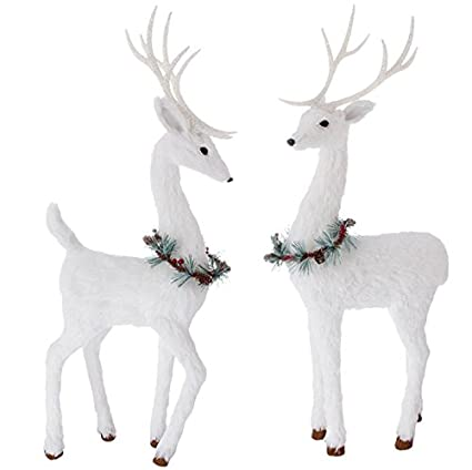 White Faux Fur Holiday Reindeer Pair with Pine Neck Garland - 2 Foot Tabletop Reindeer - Set of 2 by Raz