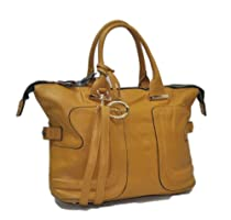 "Sori Collection ""035"" Casual Decorated Designer Inspired Tote Handbag (Yellow)"