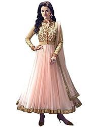 Surat Tex Women's Net Semi-Stitched Anarkali Dress Material (G988DL650AZE_Light Pink)