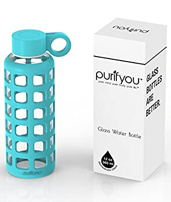 purifyou Premium Glass Water Bottle with Silicone Sleeve, 12 / 32 oz