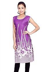 Kurti Studio Womens Festive Purple Printed Jaipuri Cotton Kurti