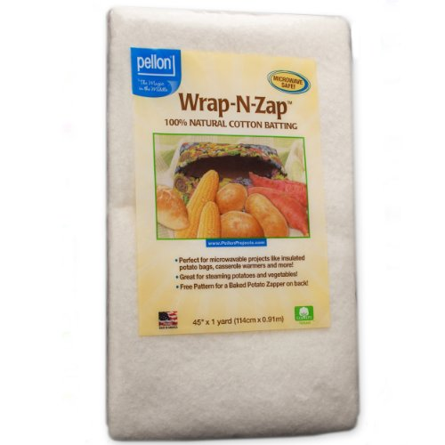 Pellon Wrap-N-Zap Cotton Quilt Batting, 45 by 36-Inch, Natural