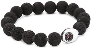 Borgioni Evil Eye on Porous Lava Beaded Bracelet