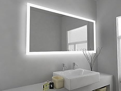 Miroir de Salle de Bain Design Moderne Eclairage LED avec Capteur, Prise Rasoir et Système Anti Buée Verre Transparent 650mm x 1300mm - C1419