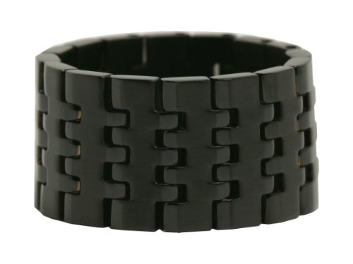 Suemi, Gear, Black Coated Stainless Steel Unisex Linked Ring, Size 11