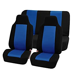 FH-FB102112 Classic Cloth Car Seat Covers Blue / Black color