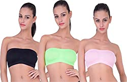 PIFTIF seamless non padded non wire strapless bandeau full side covrage tube bra for women's and girl s fit size ( 28 in to 36 in) BABYPINK GREEN BLACK
