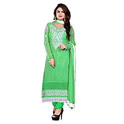 M Fab Embroidered Light Green Georgette Un Stitched Dress Material