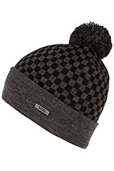 Vans Off The Wall Men's Checkerboard Pom Snowboard Ski Beanie - Heather Black