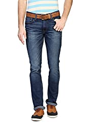 V Dot Men's Formal Trousers (8907445896637_VDDN316D06068_30W x 32L_Dark Blue Solid)