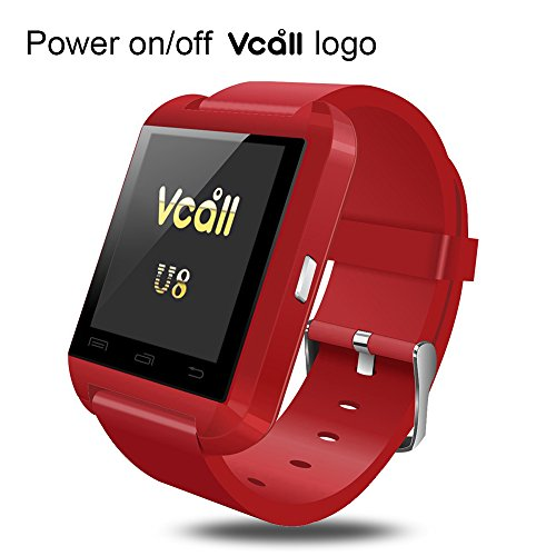 VCALL U8 Bluetooth Smartwatch Smart Watch Wristwatch Long Battery Life Phone Mate for Samsung Huawei Android Smart Cell Phones - Red
