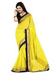 KD Enterprise Women's Cool Yellow Colour Saree