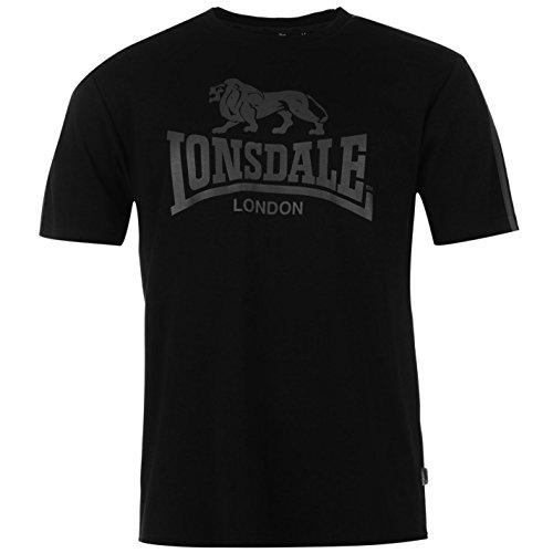 Lonsdale Uomo Due a strisce, grande logo T Shirt Girocollo A maniche corte maglietta Top, Black/Charcoal, M