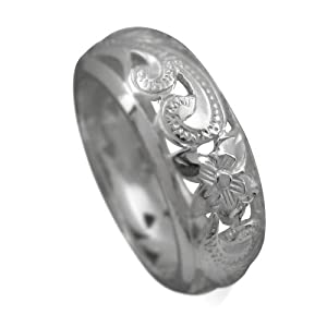 925 Silver Filigree Scroll Band Ring Size 5