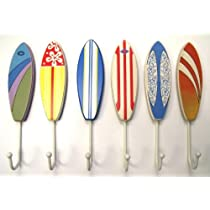 tropical beachy surfboard wall hooks set of 6