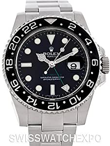 Rolex Mens Stainless Steel Gmt II Black Dial